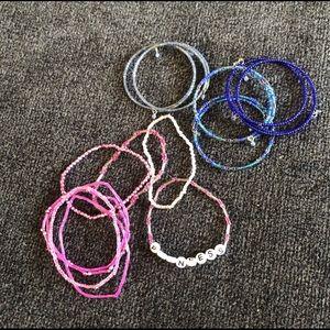 Bundle of girls bracelets - pink & blue